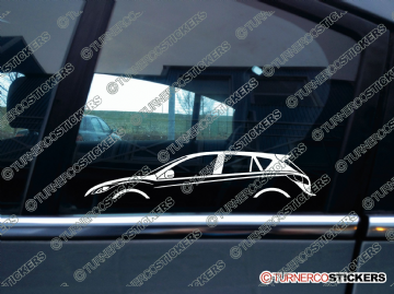 2x Car Silhouette sticker - Mazda 3 ,5-door hatchback (BL, 2008-2013)